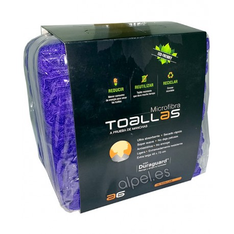Toallas Microfibra Asuer Group Moradas Pack 10